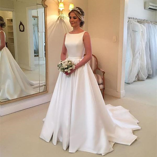 White Satin Wedding Dresses 2019 New A Line Sweep Train Backless Simple Bridal Dress Vestido De Casameto Cheap Robe De Mariage
