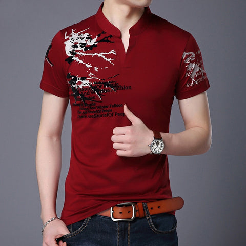 2018 Summer Mens Polo Shirt V Collar Printing Short Sleeve Polo Shirts Burgundy Breathable Casual Classic Male Clothing M-4XL