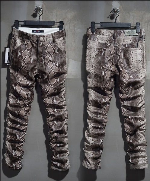 New mens slim fit pencial faux leather snakeskin Pattern prints pants trousers @