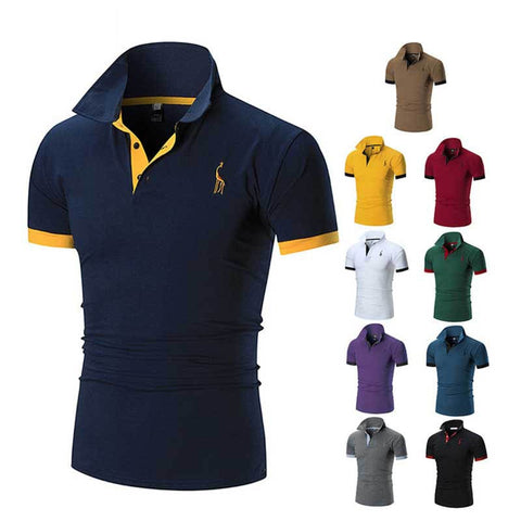 2019 Men Solid Color Deer Embroidery Polo Shirt  Clothing Business Casual Cotton Male Short Sleeve Slim