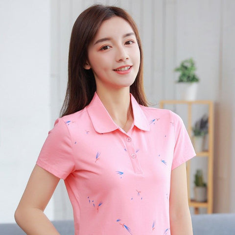 2019 New Summer Printed Polo Shirt Women Casual Short Sleeve Slim Polos Mujer Shirts Plus Size Female Cotton Lady Polo Shirt top