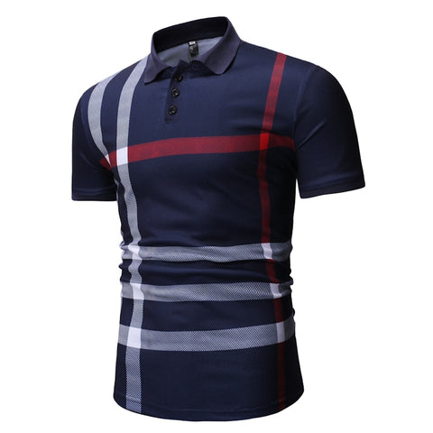 2019 Polo men's color matching striped POLO shirt men's short-sleeved lapel breathable POLO shirt casual men's clothing