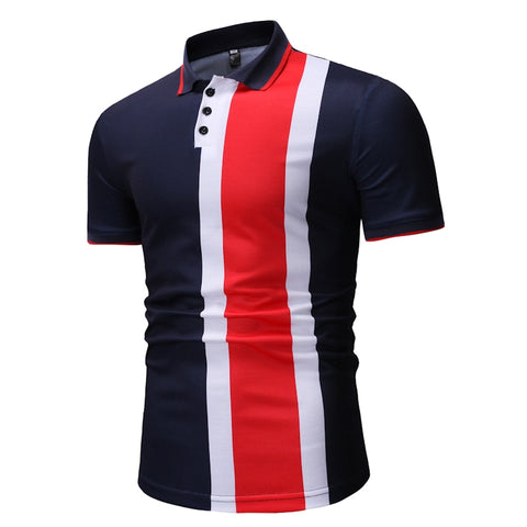 2019 Polo shirt men's color matching POLO shirt men's lapel breathable POLO shirt Slim short-sleeved shirt men's clothing
