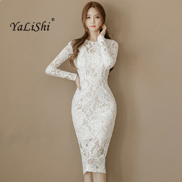 e1f753367b 2019 Spring Women Dress Office Sexy Long Sleeve Bandage Bodycon Dress White  Pencil Lace Dress Vintage Party Dresses Vestidos