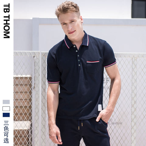 2019 TB THOM men's summer polo shirts with pocket short sleeve smart casual polo shirts men dyed cotton polo shirts for male
