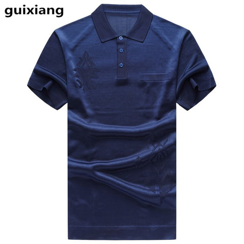 2019 summer new style Men's casual fashion silk short sleeved Polo shirts Men of high quality 100% silk business Polo shirt men