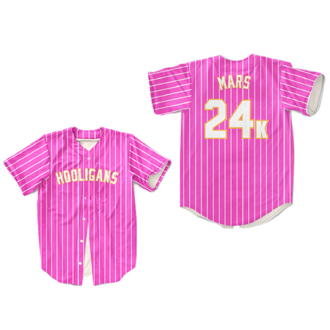 Mars 24K Hooligans White Pinstriped Baseball Jersey BET Awards Pink