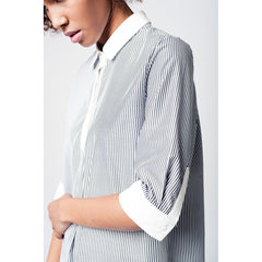 3/4 sleeve dress shirt in monochrome stripe