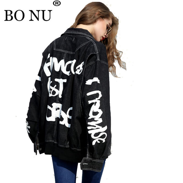 fd17784ef BONU 2018 Harajuku Loose denim Jacket Women Streetwear Black Bomber Jacket  BF embroidery Women's Windbreaker Oversize Coat