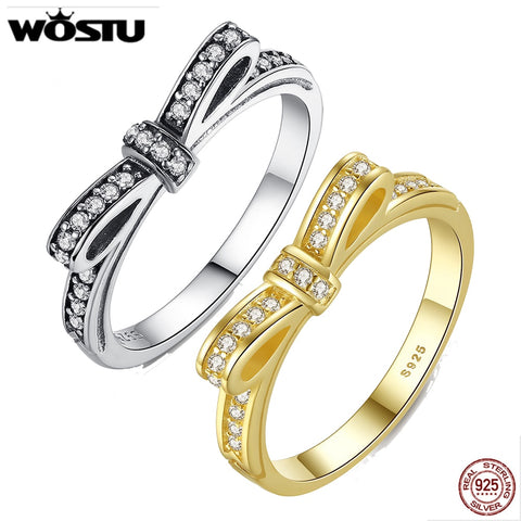 WOSTU 925 Sterling Silver Bowknot Wedding Rings With Crystal For sWomen Fashion European Original Ring Jewelry Gift FB7104