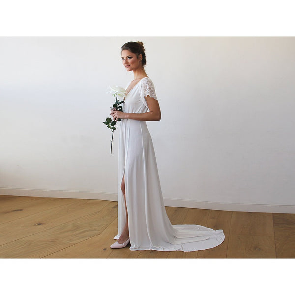 Ivory Wrap Wedding Gown With Short Lace Sleeves And Train 1163