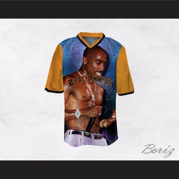 Tupac Shakur 16 2Pacalypse Orange Sleeves Football Jersey