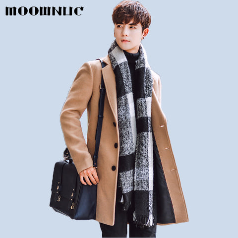 Woollen Overcoat Winter Autumn Men Coat Fashion Brand Clothing Lined Warm Woolen Overcoat Male Wool Blend Men's Coat MOOWNUC 5XL