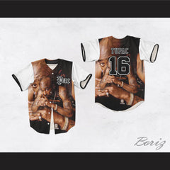 Tupac Shakur 16 Tribute White Sleeves Baseball Jersey