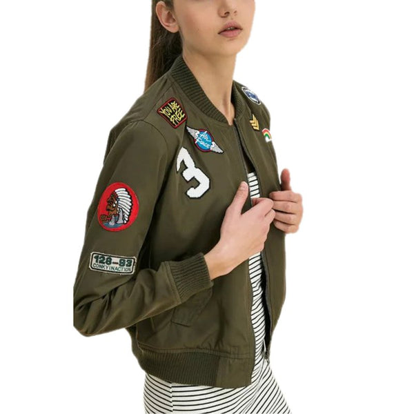 5b4354cd3 New Women Coats Army Green Bomber Jackets Female Coat Flight Suit Casual  Print Jacket Embroidered Patches Jacket Coats LM93