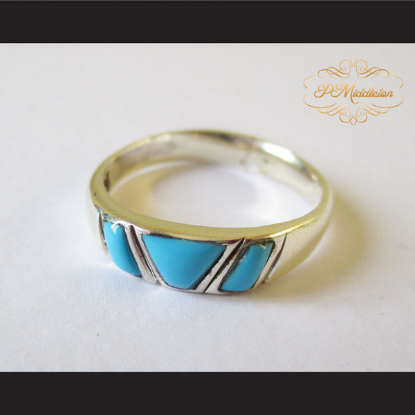 P Middleton Triple Turquoise Ring Sterling Silver 925 - borizcustom - 1
