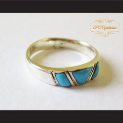 P Middleton Triple Turquoise Ring Sterling Silver 925 - borizcustom - 3