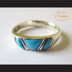 P Middleton Triple Turquoise Ring Sterling Silver 925 - borizcustom - 5