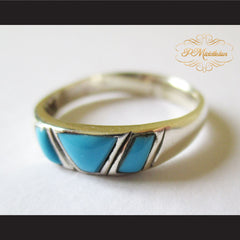 P Middleton Triple Turquoise Ring Sterling Silver 925 - borizcustom - 6