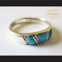 P Middleton Triple Turquoise Ring Sterling Silver 925 - borizcustom - 7
