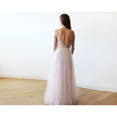 Strappy Pink Sequin and Tulle Maxi Gown 1120