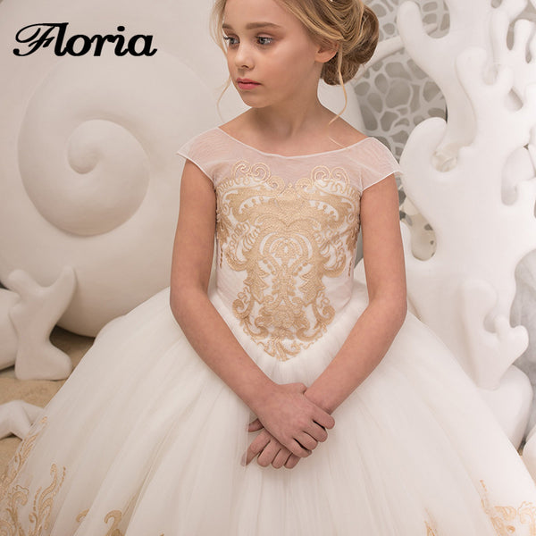 45dbe56f863 ... Champagne Lace Flower Girl Dresses For Weddings 2018 New First  Communion Dresses For Girls Vestidos Daminha ...