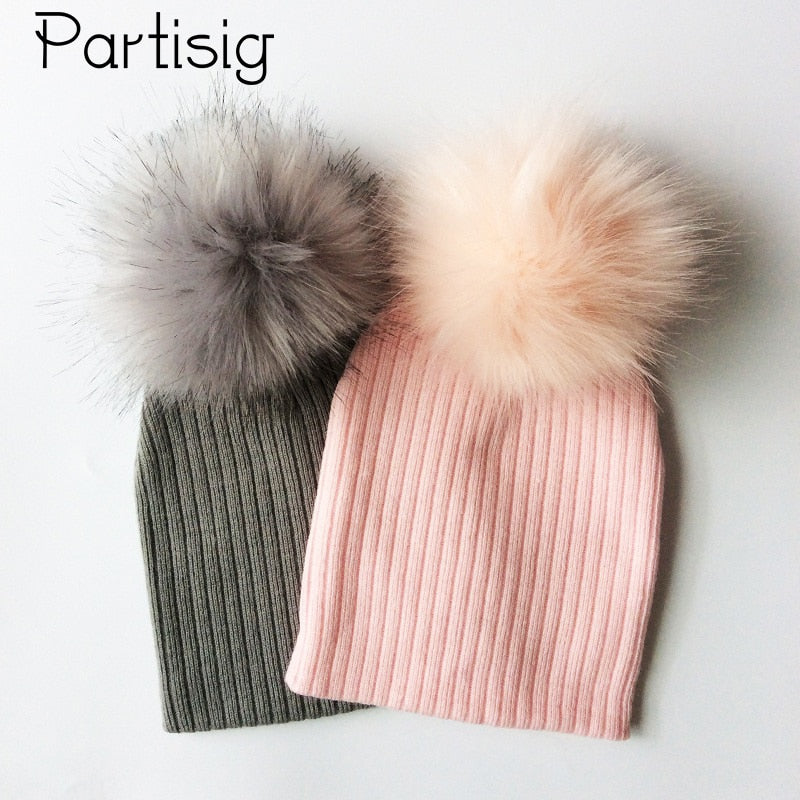 77a0e1d970b Baby Cap Faux Fur Hat For Girls And Boys Crochet Pompom Bobble Kids Cap  Knitted Winter Children s Hats Caps