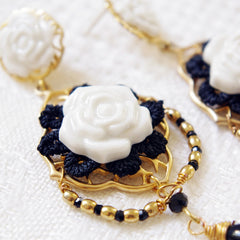 Classic Baroque Porcelain Rose Statement Earrings