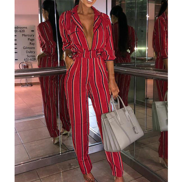 8fa46618495b6 Black Red Striped Rompers Womens One Piece Jumpsuit Elegant Autumn Clothes  Long Sleeve Sexy Deep V Neck Slim Tunic Streetwear