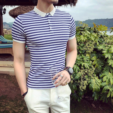 British Style Stripe Men's Polo Shirt Short Sleeve Tops Tees 2018 Summer Classic Striped Polo Male Skinny Casual Mens Polos