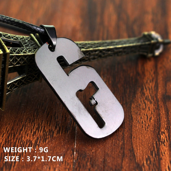 Cool Dog Tag Gun Black 6 Pendant Tom Clancy's Rainbow Six: Siege Operators  Rope Chain Alloy Game Necklace High Quality Jewelry