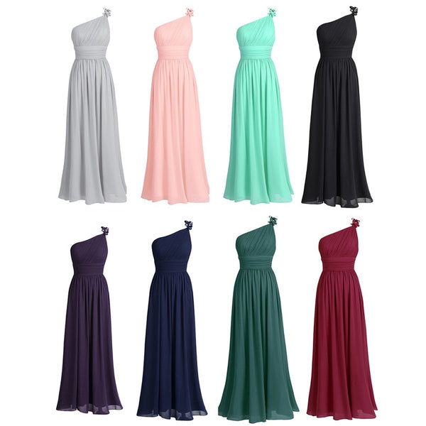 2156a8f66a4 ... TiaoBug Long Chiffon Bridesmaid Dresses One Shoulder Beading Light  Green Black Burgundy Dark Purple Gray Bridesmaid ...
