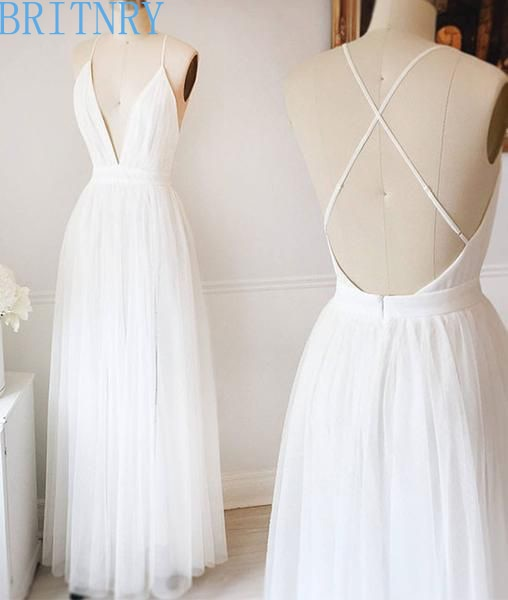 Summer Simple Wedding Dresses V Neck Backless Sexy Beach Wedding Dress  Cheap White Ivory Tulle Bride Dress Boho Plus Size
