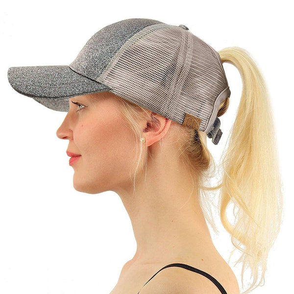 d3106c898fd 2018 Summer CC Glitter Ponytail Baseball Cap Dad Hats for Women Hip Ho