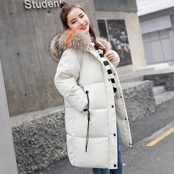 9fa16addc 6 color snow wear 2018 fashion big fur collar winter coat women medium-long  thick down jacket women plus size warm parka female