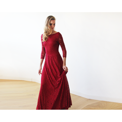 Floral lace backless maxi Bordeaux gown, Lace wedding dress, Maxi lace wedding dress