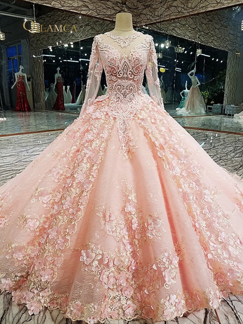 Pink Evening Gown Zipper Up On Back 3d Flowers Lace Ball Gown Long Eve Borizcustom