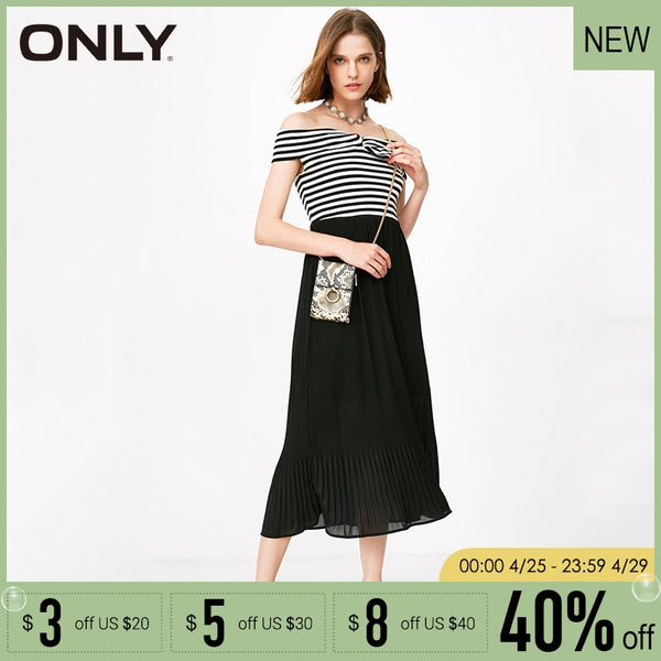13127765a9902 ONLY 2019 Spring & Summer Fake Two-piece Off-shoulder Dress |118261501