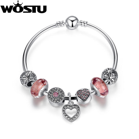 WOSTU High Quality Silver Charms Beads Bangle & Bracelet For Women Original DIY Authentic Fashion 925 Jewelry Gift