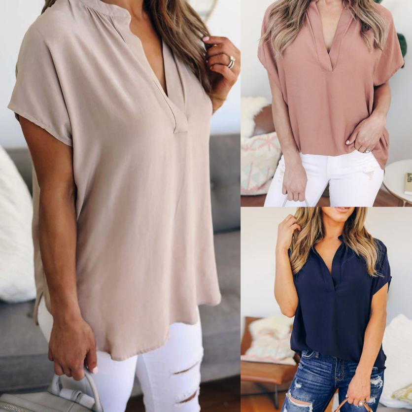 58d665a1afc89 KANCOOLD tops high quality Ladies Chiffon V-Neck Solid Short Sleeve Casual  Tops T-Shirt summer tops for women 2018 ap26