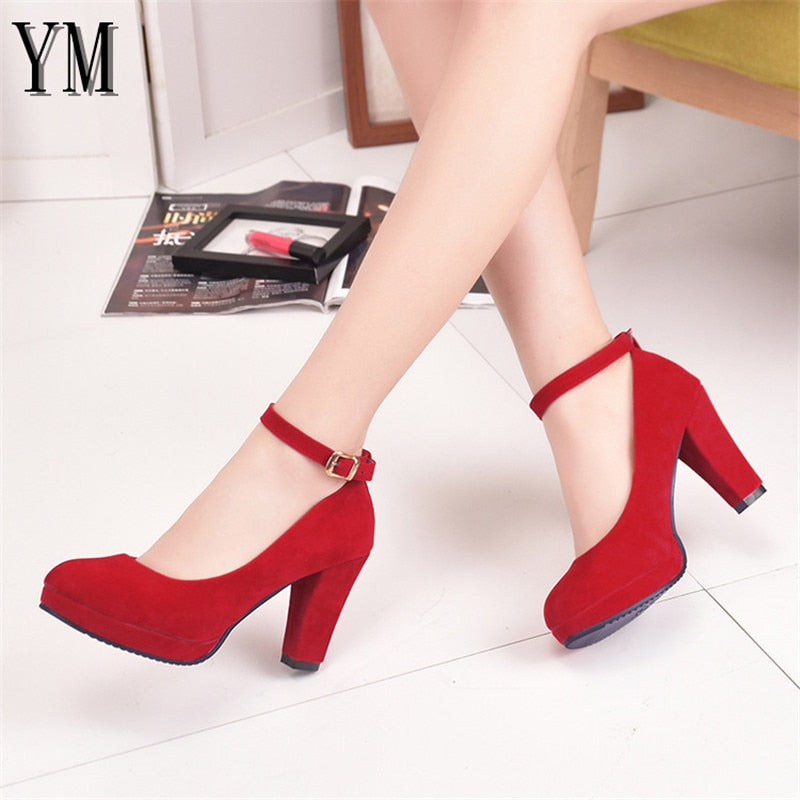 Sexy Red Ankle Strap 9CM High heels