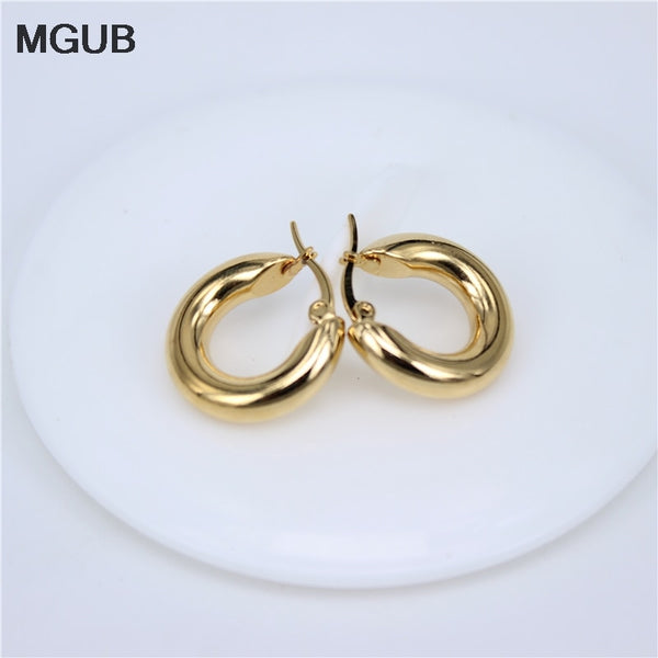 2 Classic Stainless Steel Popular Earrings Solid Weight Smooth Earrings Fine Polished Smooth