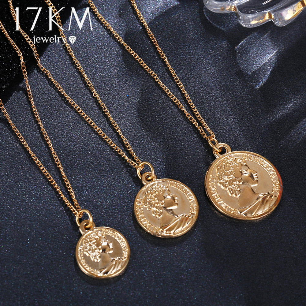17km Vintage Coin Pendant Necklaces For Women Fashion Figure Long Chok Borizcustom