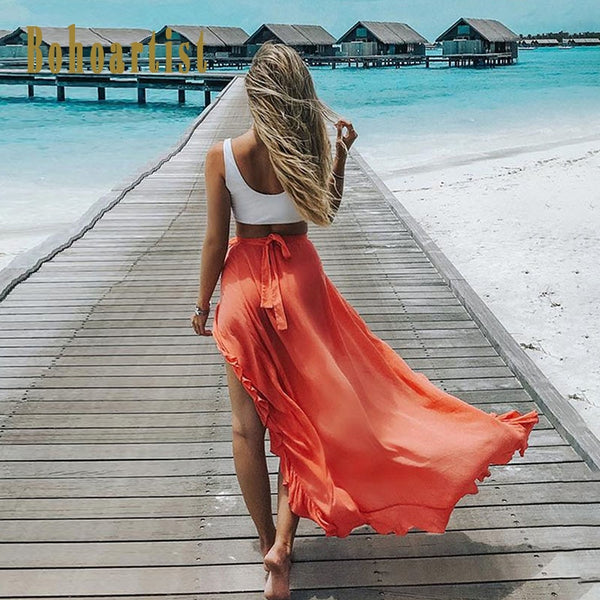 1d771338a771 Bohoartist Boho Skirt Women Solid Maxi Skirts Summer Lace Up Ankle Len
