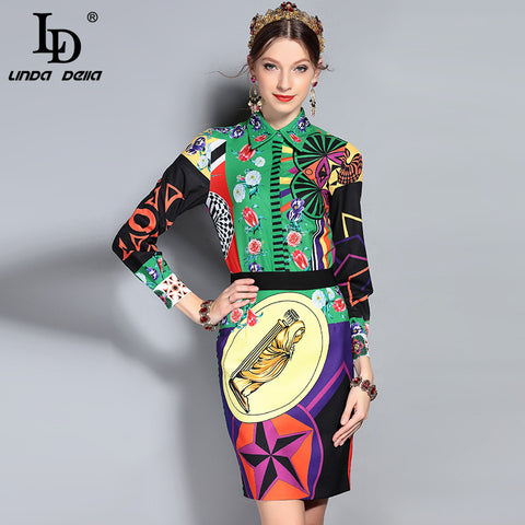 dc61fc8a7efc LD LINDA DELLA New Fashion Runway Suit Set Women's Long Sleeve Floral Print  Blouse + Vintage