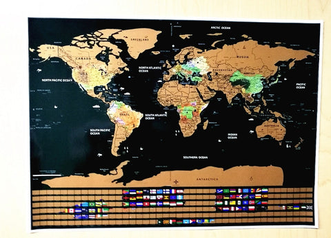 "World Scratch Off Map | PERFECT GIFT for any travel Personalized Gift 16.7"" x 11.8"" With Country Flag scratch world map"