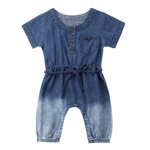 205c2d2273 Fashion Newborn Baby Girl Denim Romper Short Sleeve Loose Jumpsuit Playsuit  Outfits Summer Clothes 0-