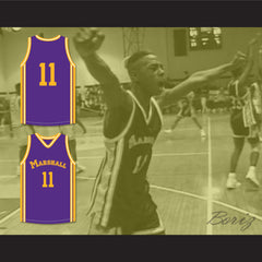 Arthur Agee 11 John Marshall Metropolitan High School Purple Basketball Jersey Hoop Dreams - borizcustom