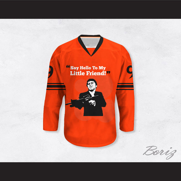Al Pacino 9 Scarface 'Say Hello To My Little Friend' Orange Hockey Jersey