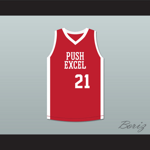 4e888809774 Alfredrick Hughes 21 Push Excel Pro Basketball Classic Red Basketball Jersey  1985 Charity Event